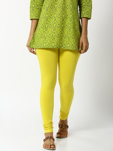 De Moza | De Moza Women's Ankle Length Leggings Solid Cotton Lycra Lemon Yellow