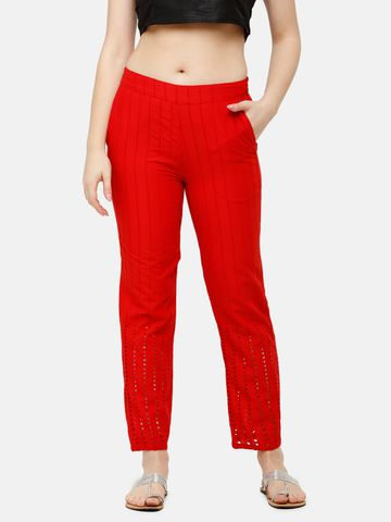 De Moza | De Moza Women's Straight Pant Woven Bottom Solid Cotton Red