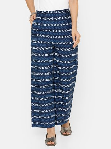 De Moza | De Moza Ladies Printed Palazzo Woven Bottom Cotton Indigo Blue