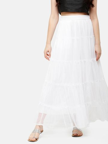 De Moza | De Moza Ladies Skirt Woven Bottom Solid Polyester Offwhite