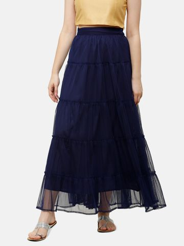 De Moza | De Moza Ladies Skirt Woven Bottom Solid Polyester Navy Blue