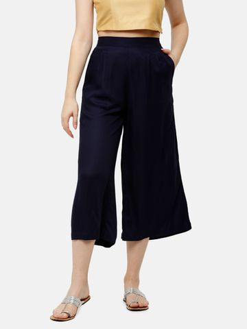 De Moza | De Moza Ladies Crop Palazzo Woven Bottom Solid Rayon Dark Navy Blue