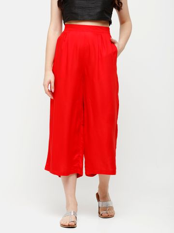 De Moza | De Moza Ladies Crop Palazzo Woven Bottom Solid Rayon Red
