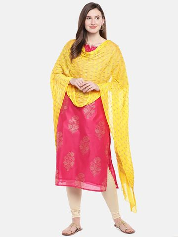 Ethnicity | Ethnicity Yellow Silk Women Dupatta
