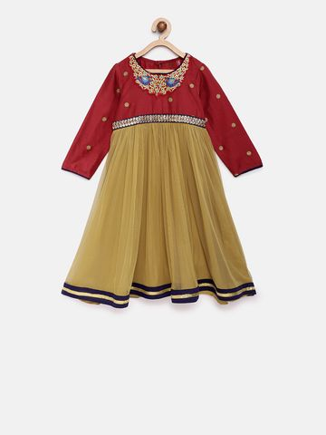 Ethnicity | Ethnicity Maroon Polyester Kids Girls Dress