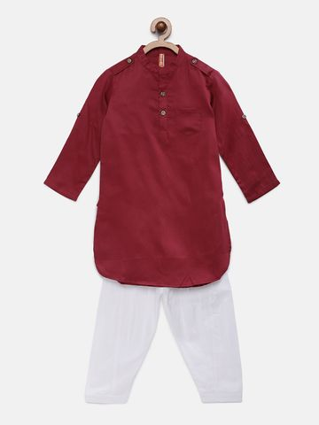 Ethnicity | Ethnicity Maroon Cotton Satin Kids Boys Kp Set