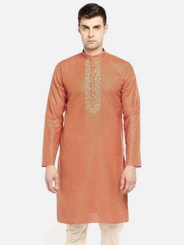 Ethnicity | Ethnicity Rust Cotton Men Kurta