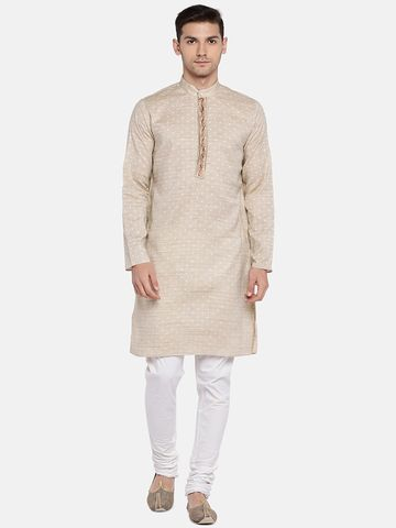 Ethnicity | Ethnicity Beige Cotton Blend Men Kurta