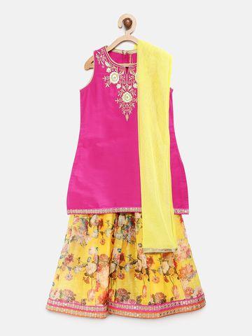 Ethnicity | Ethnicity Pink Polyester Kids Girls LehengaSet