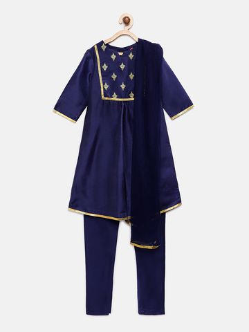 Ethnicity | Ethnicity Royal Blue Chanderi Kids Girls Skd