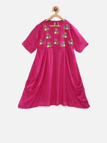 Ethnicity | Ethnicity Fuchsia Rayon Flax Kids Girls Dress