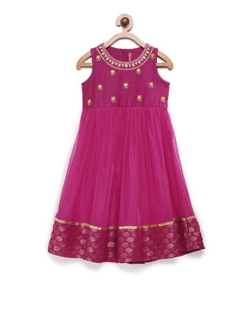Ethnicity | Ethnicity Magenta Rayon Flax Kids Girls Dress