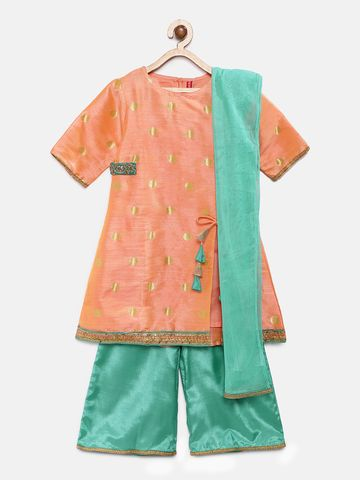 Ethnicity | Ethnicity Peach Polyester Blend Kids Girls Skd