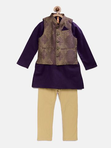 Ethnicity | Ethnicity Purple Polyester Cotton Kids Boys Kpj Set