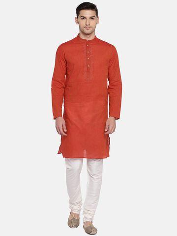 Ethnicity | Ethnicity Red Cotton Men Kurta