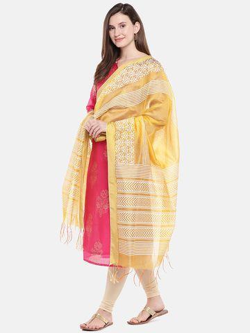 Ethnicity | Ethnicity Mustard Chanderi Women Dupatta
