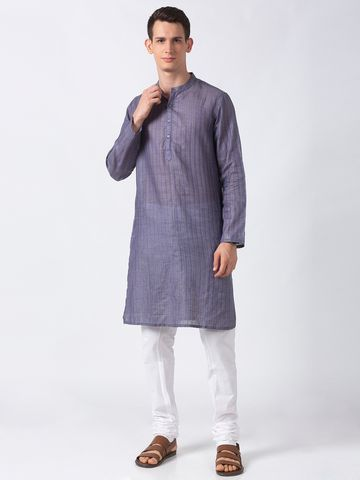 Ethnicity | Ethnicity Purple Polyester Blend Men Kurta