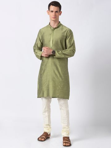 Ethnicity | Ethnicity Green Polystaple  Men Kurta