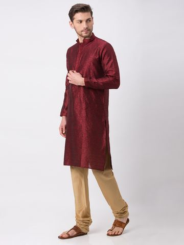 Ethnicity | Ethnicity Polyester Blend Straight Full Sleeve Men Maroon Kp Set