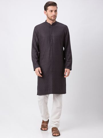 Ethnicity | Ethnicity Polyester Cotton Straight Full Sleeve Men Charcoal Grey Kp Set