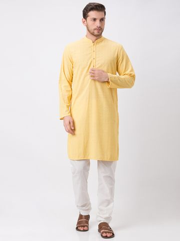 Ethnicity | Ethnicity Polyester Cotton Straight Full Sleeve Men Yellow Kp Set