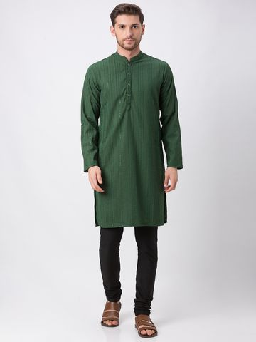 Ethnicity | Ethnicity Polyester Cotton Straight Full Sleeve Men Milatary Green Kp Set