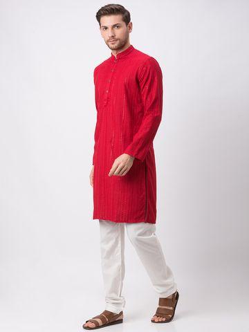 Ethnicity | Ethnicity Polyester Cotton Straight Full Sleeve Men Maroon Kp Set