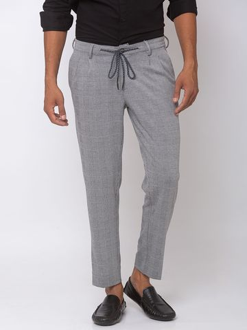 spykar | Spykar Black /White Cotton Tapered Fit Trousers