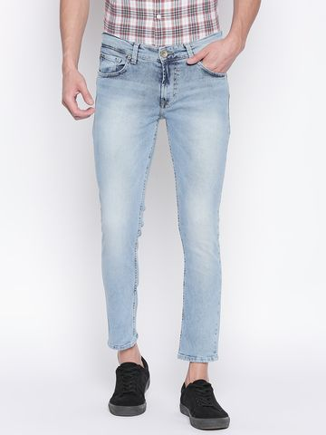 spykar | SPYKAR LT BLUE COTTON TAPERED FIT JEANS