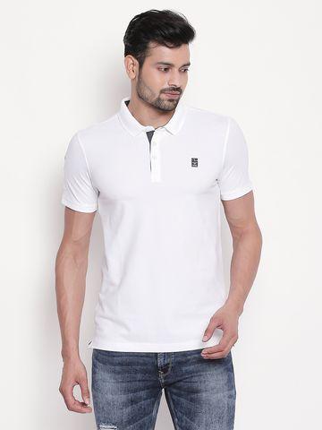 spykar | White Solid Polo T-shirt