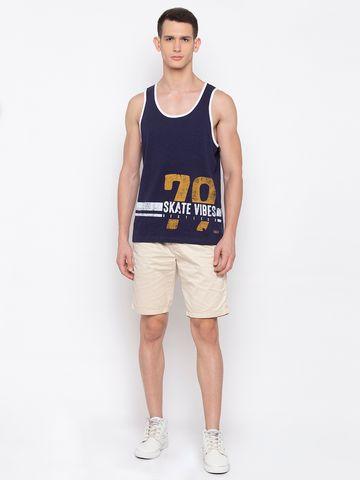 spykar | SPYKAR Navy Cotton Slim Fit T SHIRTS