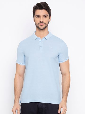 spykar | Spykar Light Blue Solid Slim Fit Polo T-Shirt