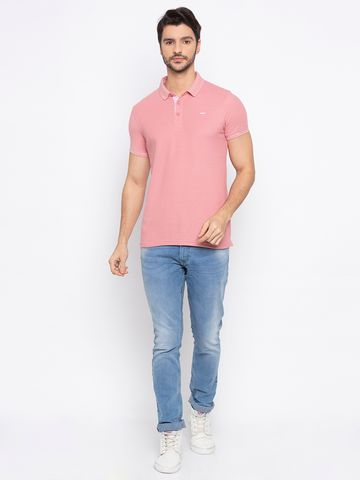 spykar | Spykar Light Pink Solid Slim Fit Polo T-Shirt
