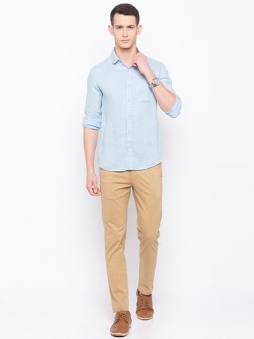spykar | Spykar Sky Blue Solid Slim Fit Casual Shirts