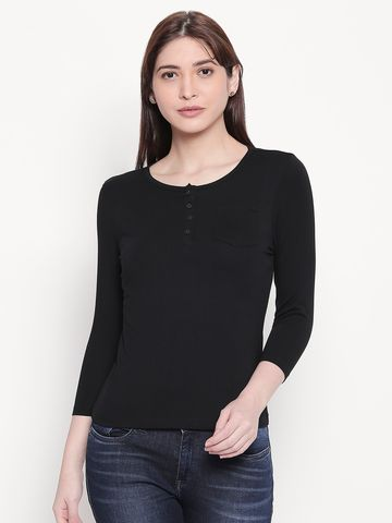 spykar | Spykar Solid Henley Neck Black Top
