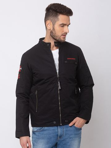 spykar | SPYKAR Black COTTON STRAIGHT FIT JACKETS