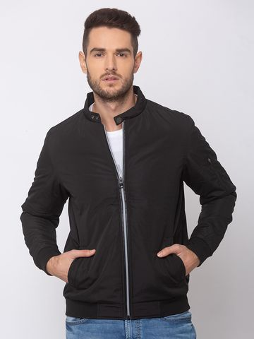 spykar | SPYKAR Black POLYESTER STRAIGHT FIT JACKETS