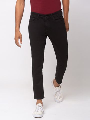 spykar | SPYKAR Black COTTON TAPERED FIT JEANS