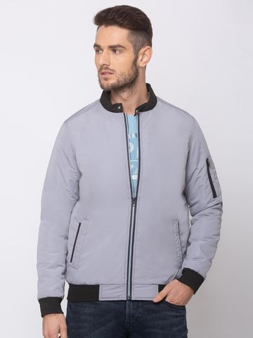 spykar | SPYKAR LT GREY POLYESTER STRAIGHT FIT JACKETS