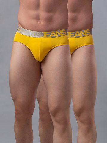 spykar   Underjeans Yellow Cotton Briefs - Pack of 2