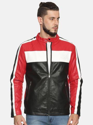 Showoff | Men Black&Red Casual Solid Leather jacket