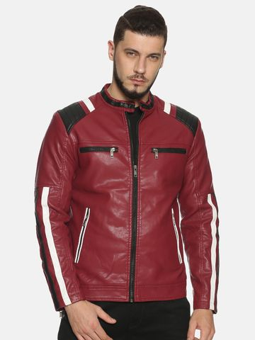 Showoff | Men Maroon Casual Solid Leather jacket
