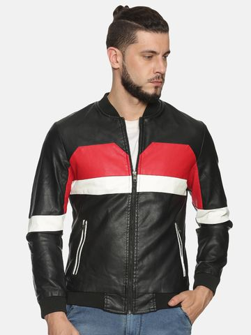 Showoff | Men Black&Red Casual Solid Leather jacket
