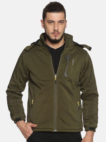 Showoff | Men olive Solid Sporty Jacket with Detachable Hood