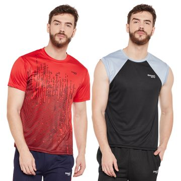 Masch Sports | Masch Sports Mens Polyester Printed & Colourblocked T-Shirts -Pack of 2 (Black & Red,Light Grey)