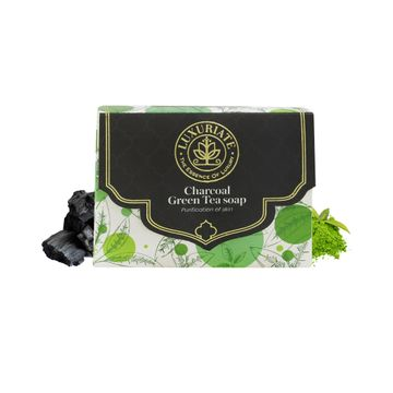 LUXURIATE | LUXURIATE Naturally Beautiful Handmade Activated Charcoal and Green Tea Soap for Clear Skin Anti Acne and Tan Removal for Men and Women,125 gm