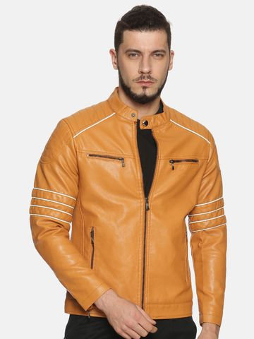 Showoff | Men Tan Casual Solid Leather jacket