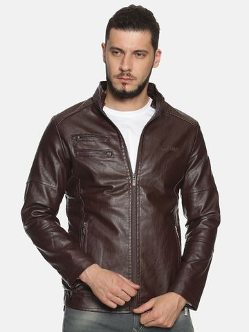 Showoff | Men Maroon Solid Leather jacket with Detachable Hood