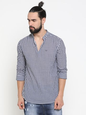 Showoff | Blue Showoff Men's Cotton Checked Slim Casual Kurtas