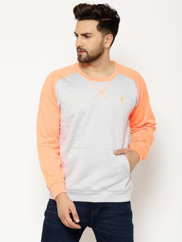 Eppe | Eppe Men's Polyester Blend Lightweight Full Sleeves Pullover Fleece Sweatshirt with kangaroo Pockets